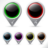 Varios iconos del GPS Fotografía de archivo libre de regalías