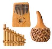 Varios instrumentos musicales, aislados Imagen de archivo libre de regalías