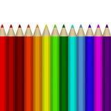 Varios lápices coloreados en el fondo blanco Imagen de archivo libre de regalías