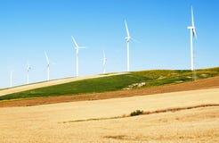 Varios molinoes de viento en campos Imagenes de archivo