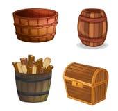 Varios objetos de madera stock de ilustración