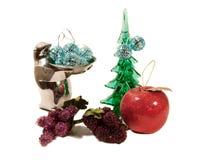 Varios ornamentos de la Navidad aislados en blanco Imagenes de archivo