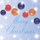 Varios ornamentos de la Navidad, globos en un fondo azul libre illustration