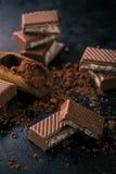 Varios pedazos de chocolate con el relleno y el cacao cremosos Fotografía de archivo