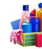 Varios productos de limpieza aislados Imagenes de archivo