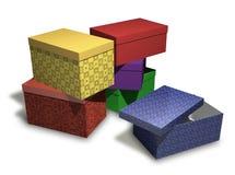 Varios rectángulos de regalo multicolores en el backgrou blanco Foto de archivo