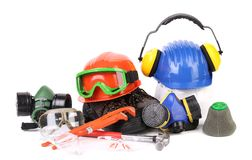 Varios safety equipment. Isolated on a white backgropund Stock Photos