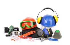 Varios safety equipment. Royalty Free Stock Image