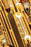 Varios tipos de herramientas de la mano Foto de archivo libre de regalías