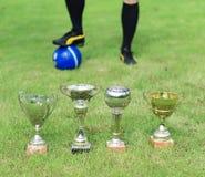 Varios trofeos del fútbol Fotografía de archivo libre de regalías