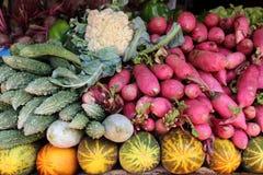 Varios vehículos en el mercado vegetal La India Imágenes de archivo libres de regalías