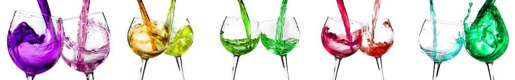 Varios vidrios de vino Fotografía de archivo libre de regalías
