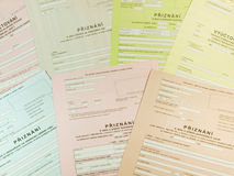 Varioud czech tax forms Stock Photo