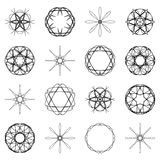 Various abstract geometric symbol set.Vector outline illustratio Royalty Free Stock Image