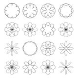 Various abstract geometric symbol set.Vector outline illustratio Royalty Free Stock Photos