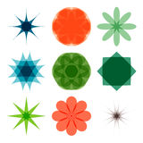 Various abstract geometric symbol set.  on white backgro. Und.Vector colorful illustration Royalty Free Stock Image