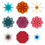 Various abstract geometric symbol set. On white background.Vector colorful illustration Stock Images