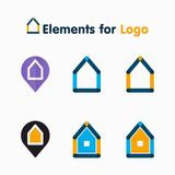 Various abstract icons homes. Icons stylized houses may be used as an icon or an element of the logo Royalty Free Stock Images
