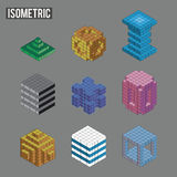 Various abstract Isometric shapes. Minecraft inspired. Set of nine. EPS8 royalty free illustration