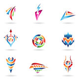 Various Abstract Shapes and Lines. Abstract Icons and Lines in Various Colors Stock Photos
