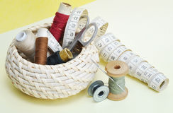 Various accessories of sewing Stock Photos