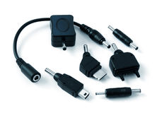 Various adapters for cell phones Stock Image
