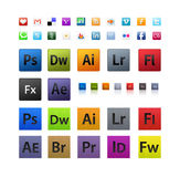 Various and Adobe icons set vector illustration