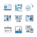 Various advertising materials flat icons set Stock Photos