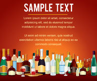Various Alcohol Bottles in a Bar Counter. Vector Drinks Stock Image