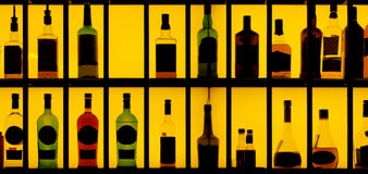 Various alcohol bottles in a bar Royalty Free Stock Photography