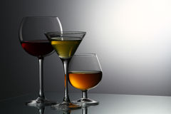 Various alcoholic beverages Stock Photography