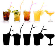 Various alcoholic cocktails Royalty Free Stock Images