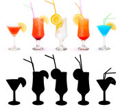 Various alcoholic cocktails Royalty Free Stock Photo