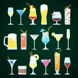 Various alcoholic drinks on a dark background. Glasses on a dark background Stock Illustration
