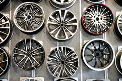 Various alloy wheels Royalty Free Stock Image