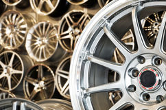 Various alloy wheels Royalty Free Stock Images