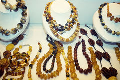 Various Amber Necklaces Royalty Free Stock Images