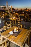 Various ambients. External ambient to relax in the poolside restaurant bar at sunset Stock Image
