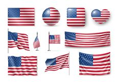Various American flags set isolated on white stock photos