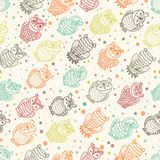 Various amusing owls seamless pattern. Hand drawn various amusing owls seamless pattern. Retro endless background Royalty Free Stock Photos