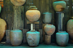 Various ancient Jar. In old home Stock Images