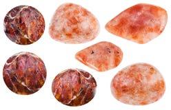 Various Andesine sunstone, heliolite gemstones Royalty Free Stock Photography