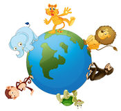 Various animals on earth globe Royalty Free Stock Photo