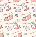 Various animals kawaii pattern stock illustration