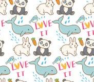 Various animals seamless pattern in kawaii style illustration royalty free illustration