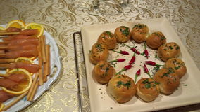Various Appetizers stock footage