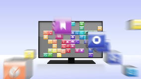Various Applications into smart TV, wide TV concept stock footage