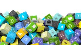 Various apps in shape of a cube Stock Photos