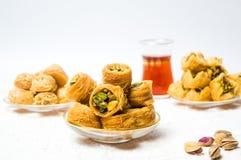 Various Arabic desserts with pistachio stock photos