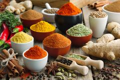 Free Various Aromatic Colorful Spices And Herbs. Ingredients For Cooking, Ayurveda Treatments Stock Images - 169744244